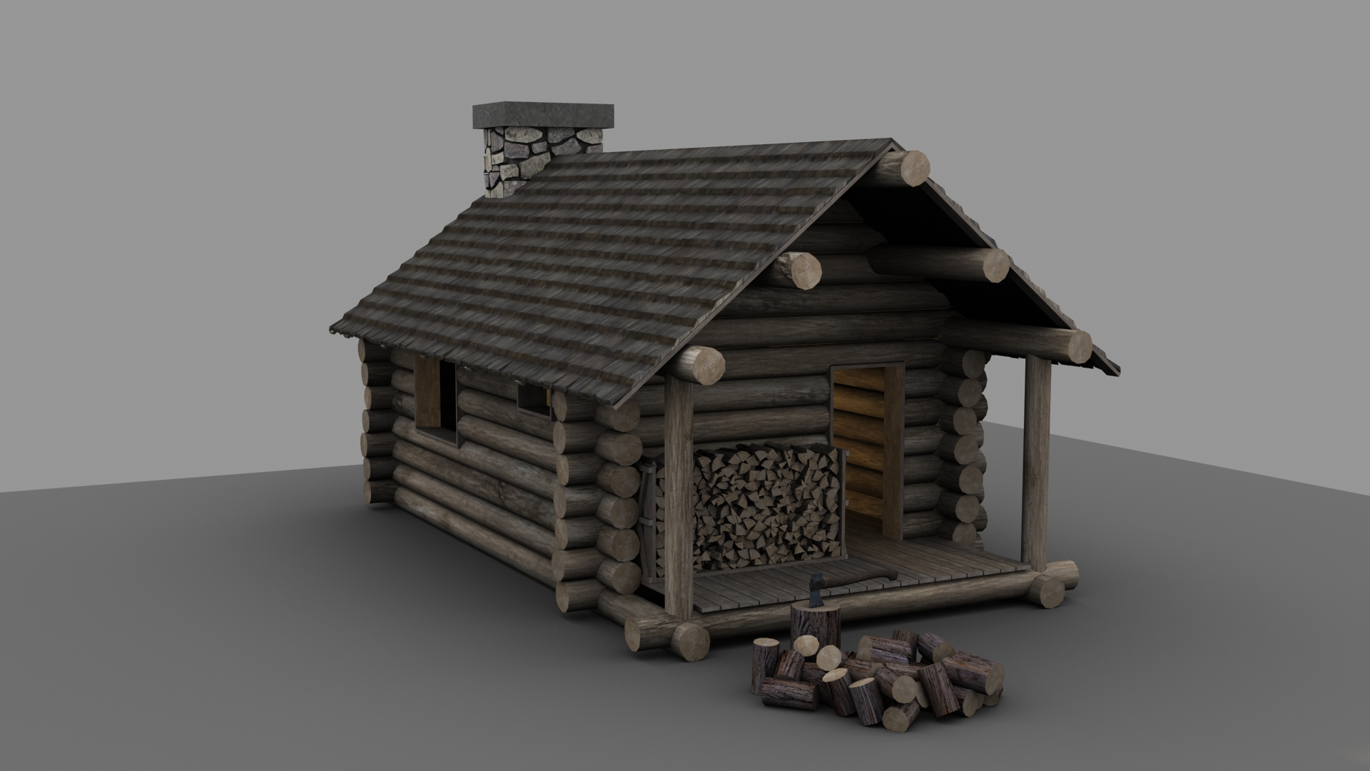 Amazing photo of Portfolio Piece Lumberjack's Cabin — polycount with #595047 color and 1920x1080 pixels
